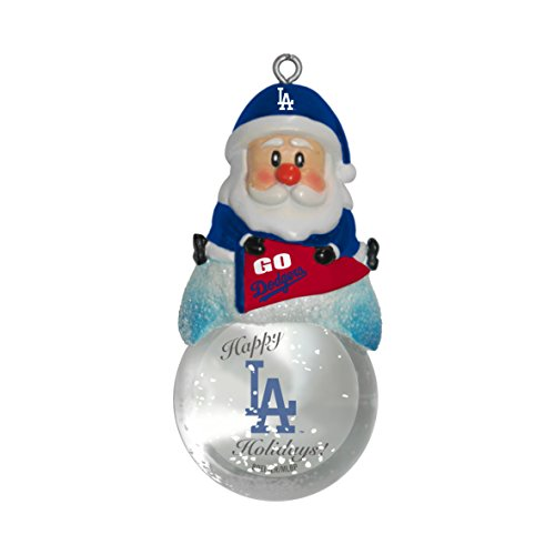 MLB Los Angeles Dodgers Snow Globe Ornament, Silver, 1.5″