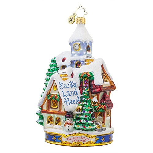 Christopher Radko Twas the Night Before Christmas Collection – Santa Land Here Glass Christmas Ornament – 6″h.