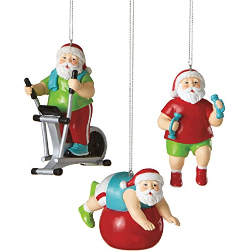 3.5″ Santa Shapin' Up Workout with Exercise Ball Fitness Christmas Ornament