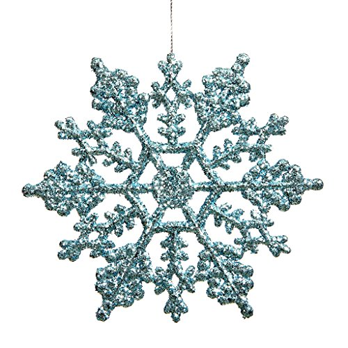 Vickerman 21456 – 4″ Baby Blue Glitter Snowflake Christmas Tree Ornament (24 pack) (M101432)