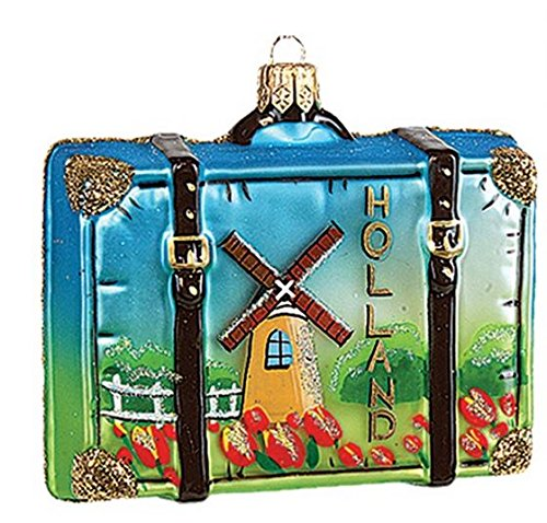 Holland Travel Suitcase Polish Mouth Blown Glass Christmas Ornament