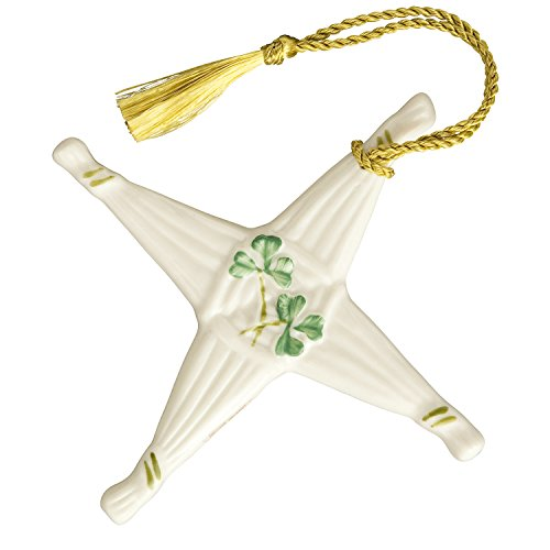 Irish Belleek St Brigid's Cross Hanging Ornament wtih Shamrocks