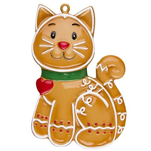 Personalized Christmas Ornament PETS GINGERBREAD CAT
