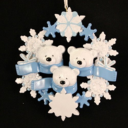Polar Bear Wreath Family of 3 Personalized Ornament