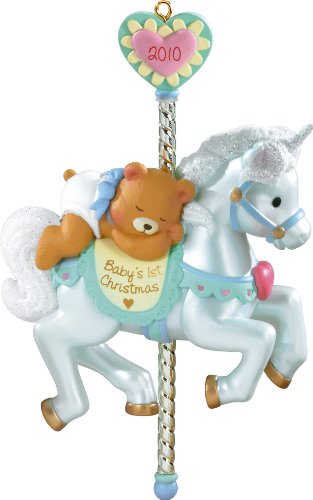 2010 Babys First Christmas–Boy– Blue Carousel Unicorn– American Greeting Ornament