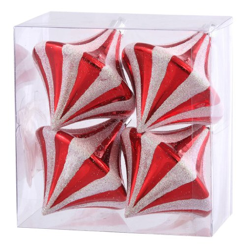Vickerman 24655 – 3.5″ Red / White Candy Cane Diamond Drop Christmas Tree Ornament (4 pack) (N100734)