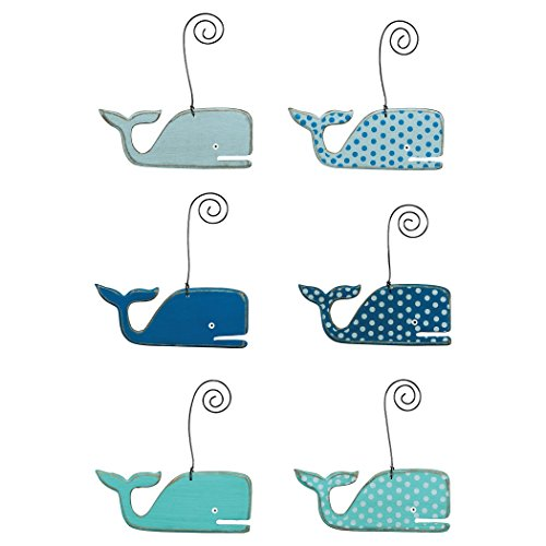 Whales – Beach Themed Wooden Ornaments – Set of 6