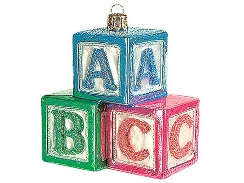 ABC Building Blocks Educational Toy Polish Blown Glass Christmas Ornament