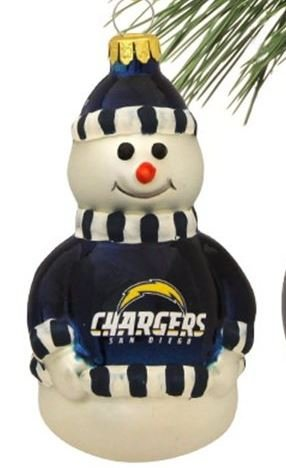 NFL San Diego Chargers Blown Glass Snowman Christmas Ornament