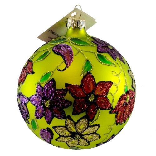 Christina's World FLORAL TAPESTRY Blown Glass Christmas Ball Ornament HER 514