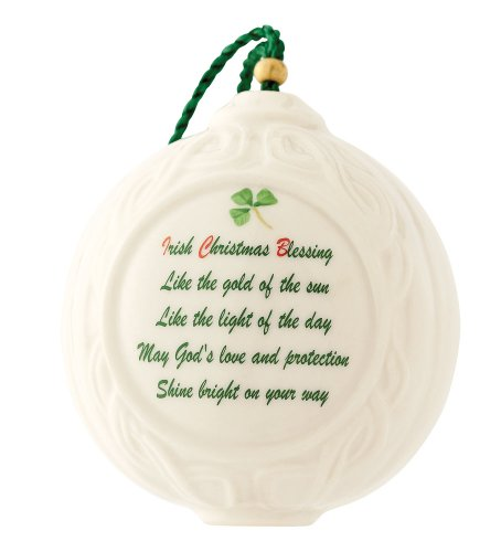 Belleek 4036 Christmas Verse Ball Ornament, 2.2-Inch, White