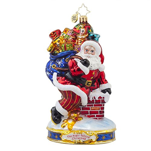 Christopher Radko Twas the Night Before Christmas Collection – Down the Chimney Santa Glass Christmas Ornament – 6″h.