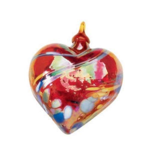 Glass Eye Studio Red Feather Twist Heart Ornament