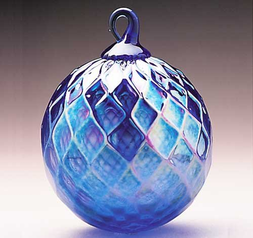 Glass Eye Studio Hand Blown Cobalt Diamond Glass Ornament