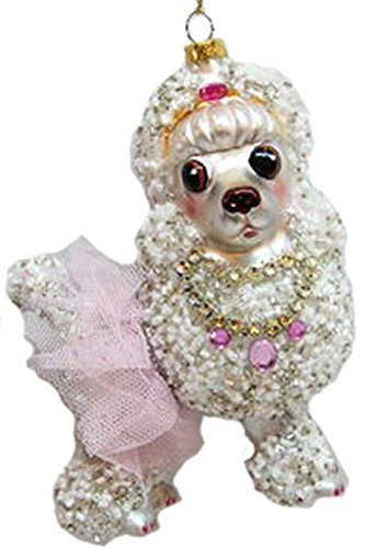 December Diamonds Blown Glass Ornament Poodle in Pink Skirt