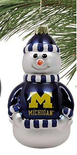 NCAA University of Michigan Blown Glass Snowman Christmas Ornament