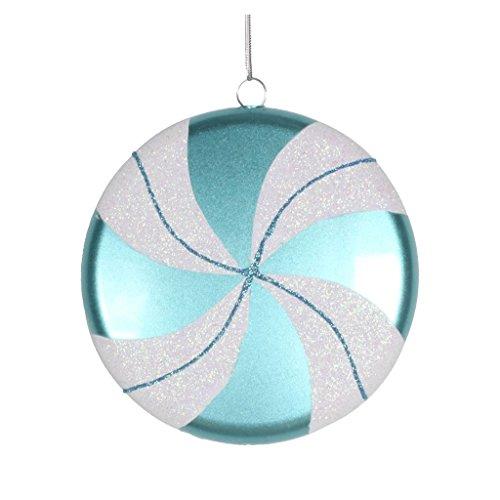 Vickerman 377444 – 6″ Teal / White Swirl Flat Glitter Candy Christmas Tree Ornament (M153312)