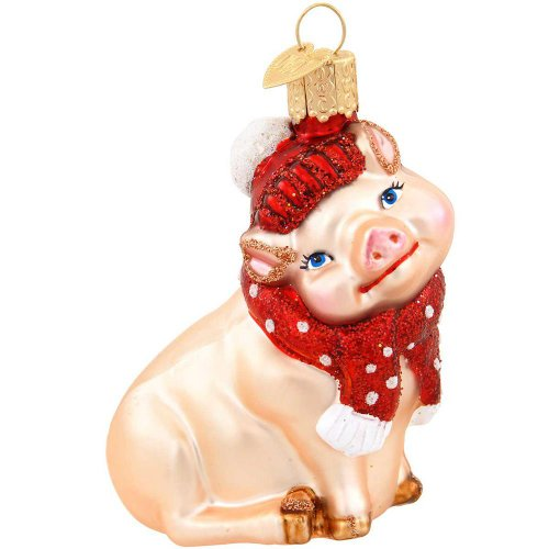 Old World Christmas Glass Ornament – Snowy Pig