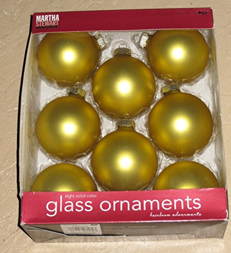 Martha Stewart Glass Ornaments Set of 8 Gold (off Gold) (KM93169)