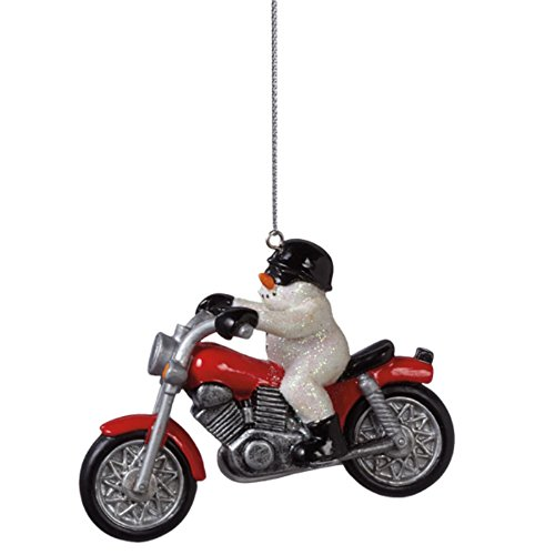 Snowman on a Motorcycle Ornament