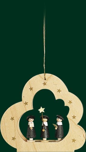 Hanging Christmas Tree Cloud Shaped Ornament Carolers, 3.6 Inches