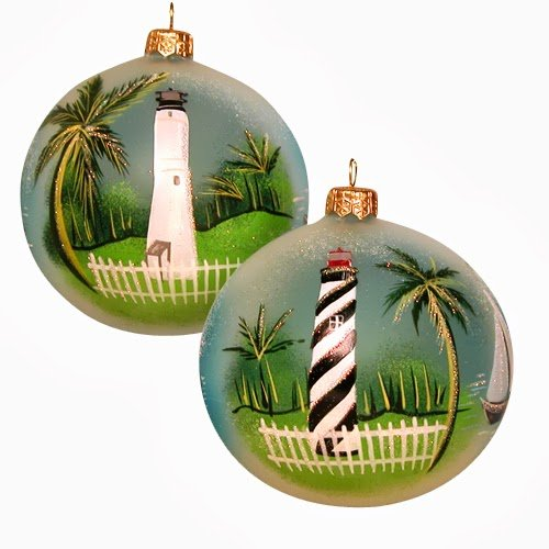Ornaments To Remember Lighthouses (Cape Florida/St. Augustine) Hand-Blown Glass Ornament