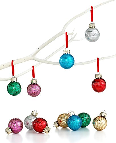 Holiday Lane Multi-Color Mini Metallic Glitter Glass Ornaments Set of 12