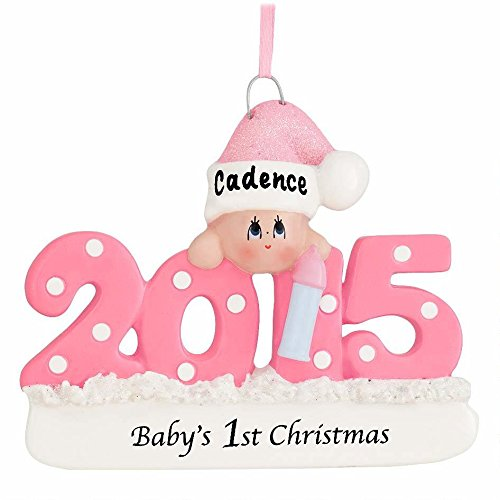 Baby's First Christmas Ornament 2015 – Pink/Girl – FREE Personalization