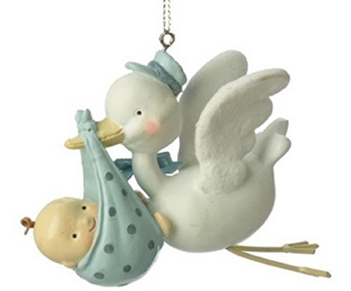 Baby Boy Stork Ornament