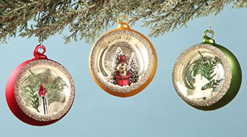 Bethany Lowe Indent Ornaments with Scene, 3 Styles in Set