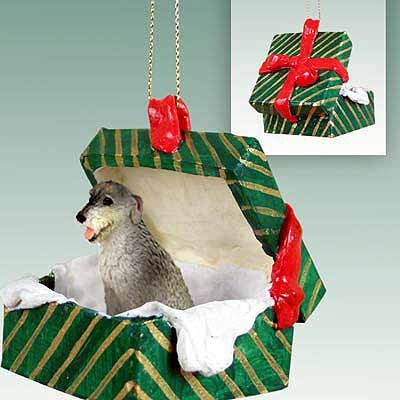 Conversation Concepts Irish Wolfhound Gift Box Green Ornament