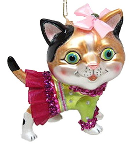 December Diamonds Blown Glass Ornament Cat with Pink Bow
