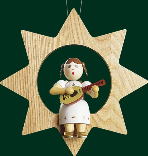 Hanging Christmas Tree Star Shaped Ornament Angel with Mandolin, 8.4 Inches