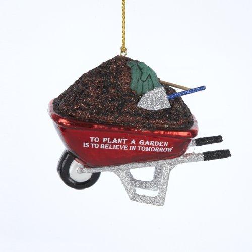 Noble Gems Glass Wheelbarrow With Gardening Phrase Ornament