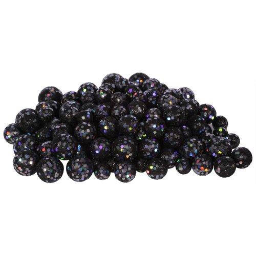 Vickerman 32956 – 20-25-30MM Black Glitter Ball Christmas Ornament (68-72 pack) (L132217)