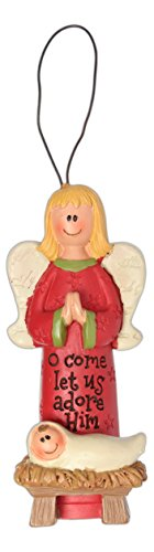 Blossom Bucket Adore Him Angel with Manger Ornament Christmas Decor, 3″ High