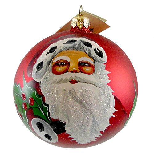 Christina's World MERRY CHRISTMAS SANTA Blown Glass Christmas Ball Ornament GIF 453