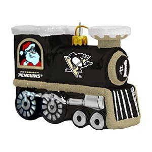NHL Pittsburgh Penguins Blown Glass Train Ornament