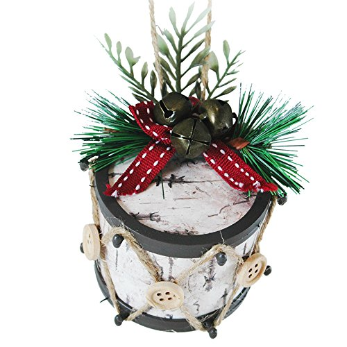 Christmas Jingle Bell Drum Ornament with Button and Twine Accents