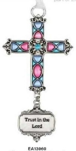 Ganz Trust In The Lord Stained Glass Cross Ornament Size: 3 1/2 inches