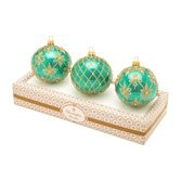 Christopher Radko Teal Boxed Glass Ornaments Set Of 3