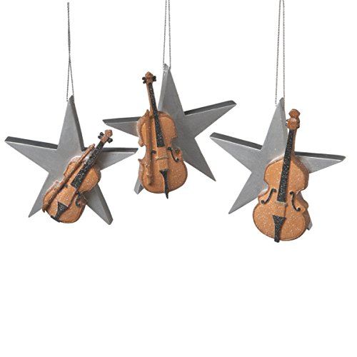 Shimmering Resin Cello with Sliver Star Ornament