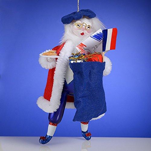 De Carlini Exclusive Ltd Ed French Santa Italian Mouthblown Glass Christmas Ornament