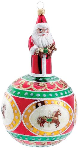 David Strand Kurt Adler Glass Carousel Santa Claus Ornament, 6.7-Inch