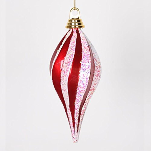 Vickerman 338643 – 8″ Red / White Candy Glitter Swirl Drop Christmas Tree Ornament (M132573)