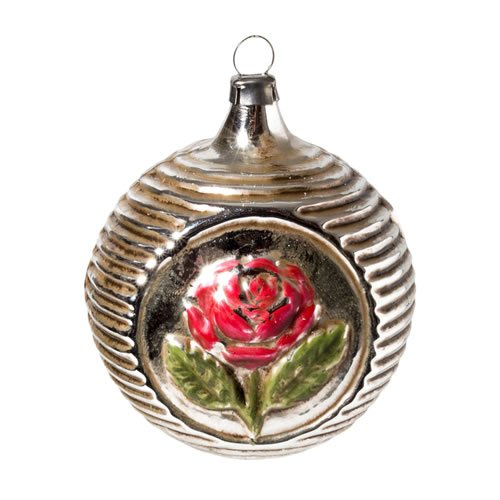 """Vintage mouthblown Christmas Glass ornament """"Rose"""" by MAROLIN® Germany"""