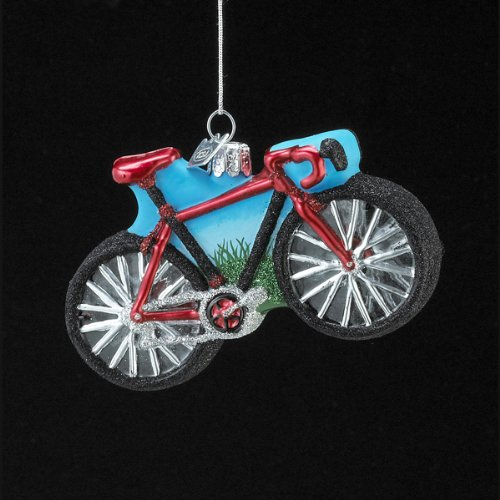 Kurt Adler Noble Gems Glass Bicycle Ornament, 4-Inch