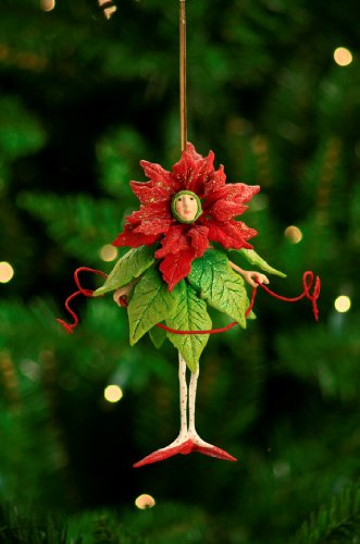 7″ Patience Brewster Krinkles Poinsettia Girl Christmas Ornament