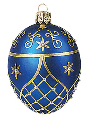 Faberge Inspired Mini Blue Egg Polish Mouth Blown Glass Christmasor Easter Ornament