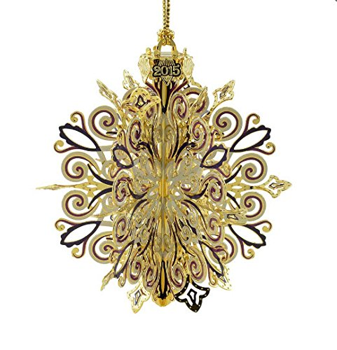 New 24KT Gold Finished 3D 2015 Snowflake Christmas Tree Ornament